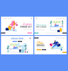 hospitality website landing page set people in vector image
