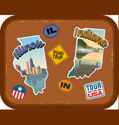 Illinois and indiana travel stickers vector