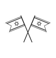 israel flag icon in black flat outline design vector image