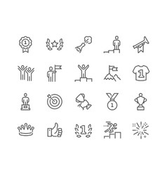 Line Winning Icons vector image vector image