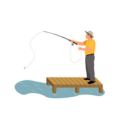 Man fishing on wooden masonry colorful banner vector