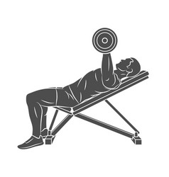 man training chest with dumbbells on bench press vector image