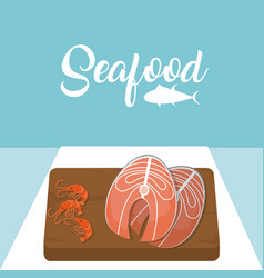 Meat steaks and shrimps delicious seafood vector