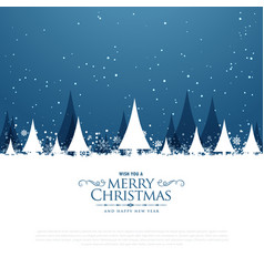 Merry christmas winter landscape scene with trees vector