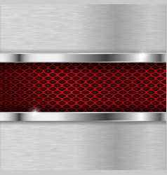 metal brushed elements with red perforation vector image