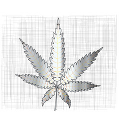 Metal cannabis leaf vector