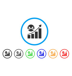 monero growing chart rounded icon vector image