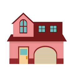 Pink home garage facade structure two story vector