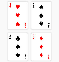 Playing Cards Showing Threes from Each Suit vector