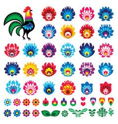 Polish folk art wycinanki design elements vector