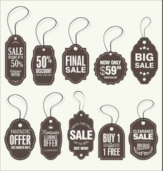 price tags retro vintage brown collection vector image