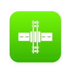 Railroad crossing icon green vector