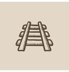 Railway track sketch icon vector