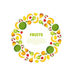Round frame of different fresh vegetables and vector