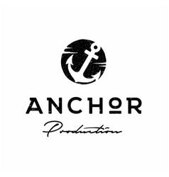 Rustic retro vintage anchor hand drawn boat ship vector