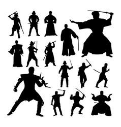 Samurai gesture silhouettes vector
