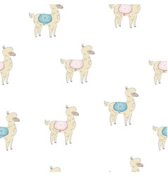 Seamless alpaca pattern hand drawn scandinavian vector