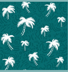 seamless pattern with tropical trees dark bright vector image