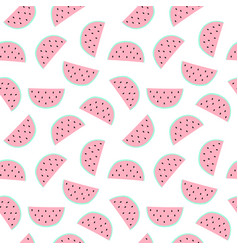 seamless pattern with watermelon pieces hand vector image