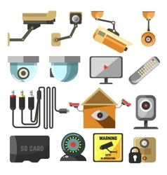 Security and surveillance elements collection vector image
