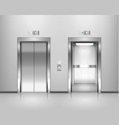 Set isolated elevator opened and closed door vector