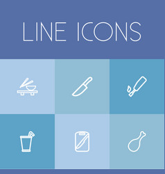 Set of 6 editable cooking icons line style vector