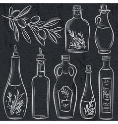 set of bottle for olive oil on blackboard vector image