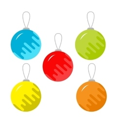 Set of five christmas balls White background vector image