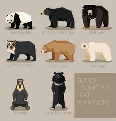 set of flat geometric bear icons vector image