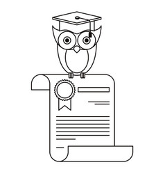 Sketch silhouette owl knowledge in certificate vector