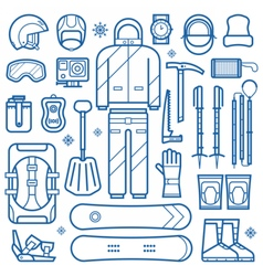Snowboard Equipment Line Icons vector image