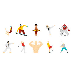 sport people icon set flat style vector image