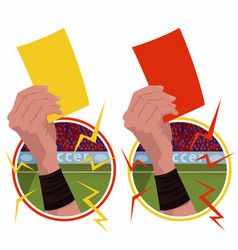 Stickers hands holds yellow red card vector