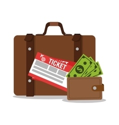 Suitcase wallet and tickets for travel design vector