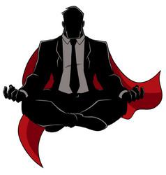 Super businessman meditating silhouette vector