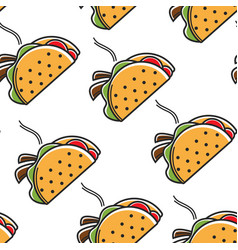 taco mexican food seamless pattern hot cuisine vector image