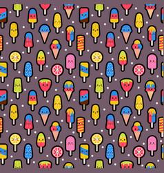 tasty colorful kawaii ice cream seamless pattern vector image