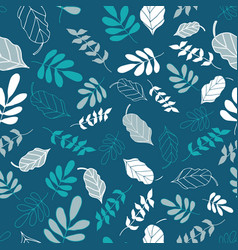 Teal tossed floral and leaves mix seamless pattern vector