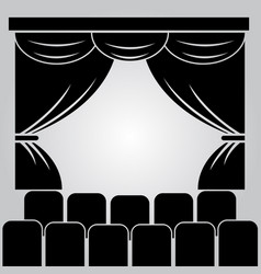 theater stage curtain and rows of chairs vector image