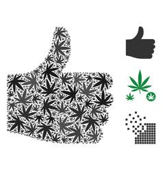 Thumb up mosaic of marijuana vector