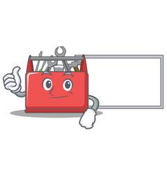Thumbs up with board tool box character cartoon vector