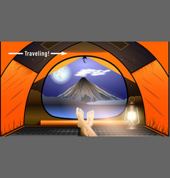 Traveling view from orange tent vector
