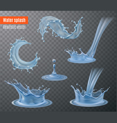 Water splashes realistic transparent vector
