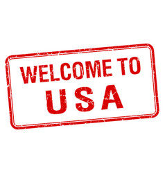 Welcome to usa red grunge square stamp vector