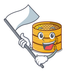 With flag wooden steamed food container on cartoon vector