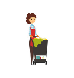Woman worker standing near trolley with cleaning vector