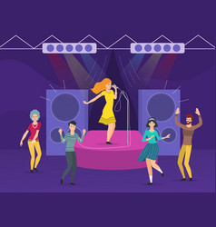 Young woman singing karaoke on stage vector