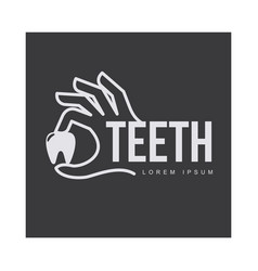 dental care logo template with hand holding tooth vector image vector image