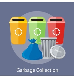 Garbage and Recycling Cans Collection vector image