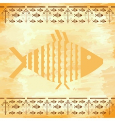 grunge background with the fishes vector image vector image